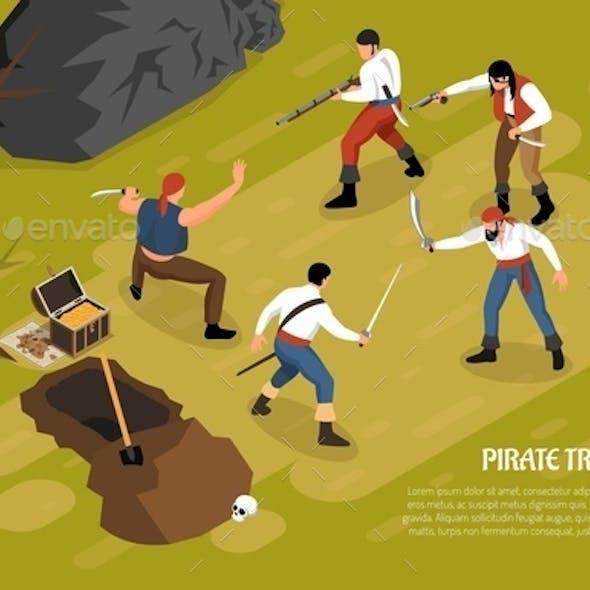 Pirate Treasures Horizontal Isometric Illustration