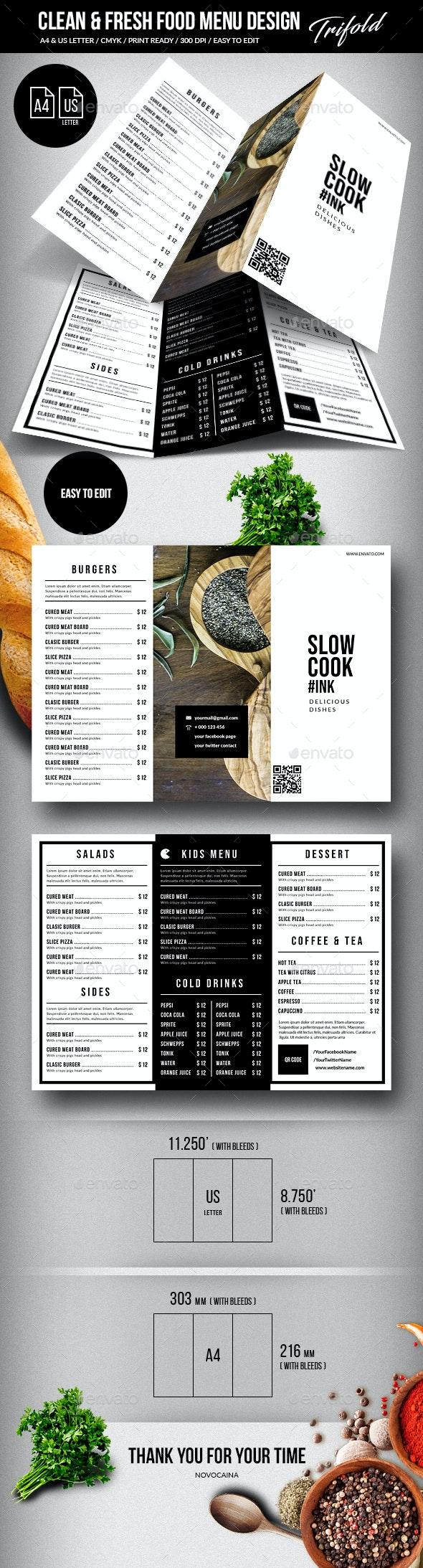 Clean & Fresh A4 & US Letter Trifold Food Menu - Food Menus Print Templates