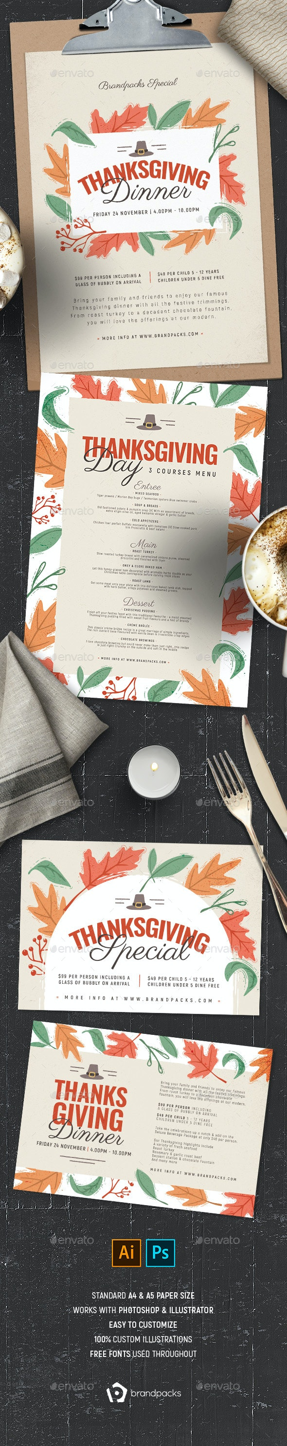 Thanksgiving Menu Template - Food Menus Print Templates