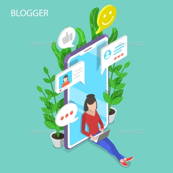 Commercial Blogger Isometric Flat Vector - Computers Technology