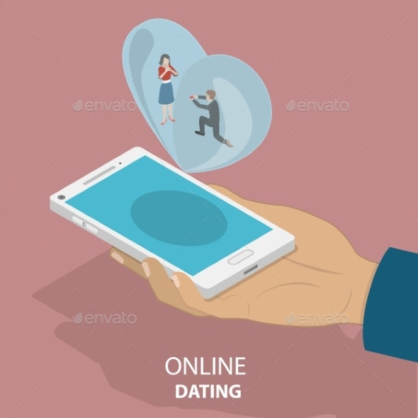 Online Dating App Isometric Flat Vector Concept. - Technology Conceptual