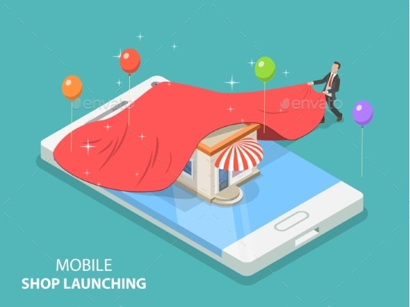 Mobile Store App Launching Flat Isometric Vector - Business Conceptual