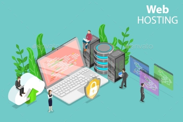 Web Hosting Service Isometric Flat Vector Concept. - Computers Technology