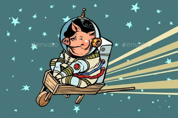Pig Astronaut Rides on a Wooden Wheelbarrow - Animals Characters