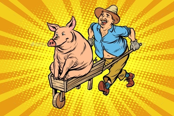 Farmer is Transporting a Pig - Animals Characters