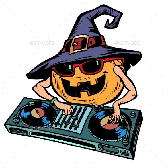 Halloween Pumpkin DJ Character - Halloween Seasons/Holidays