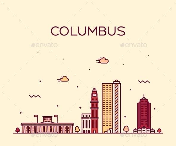Columbus Skyline Ohio USA Vector Linear Style City - Buildings Objects