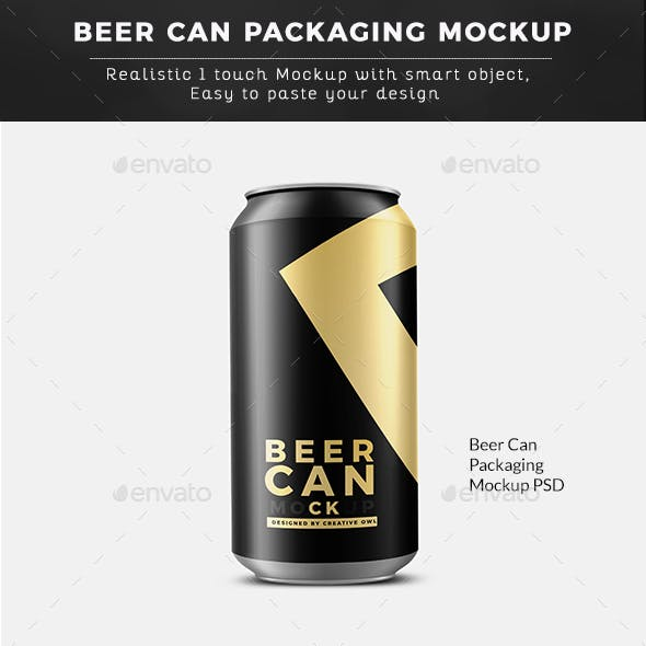 Sports Beer Can Packaging Mockup