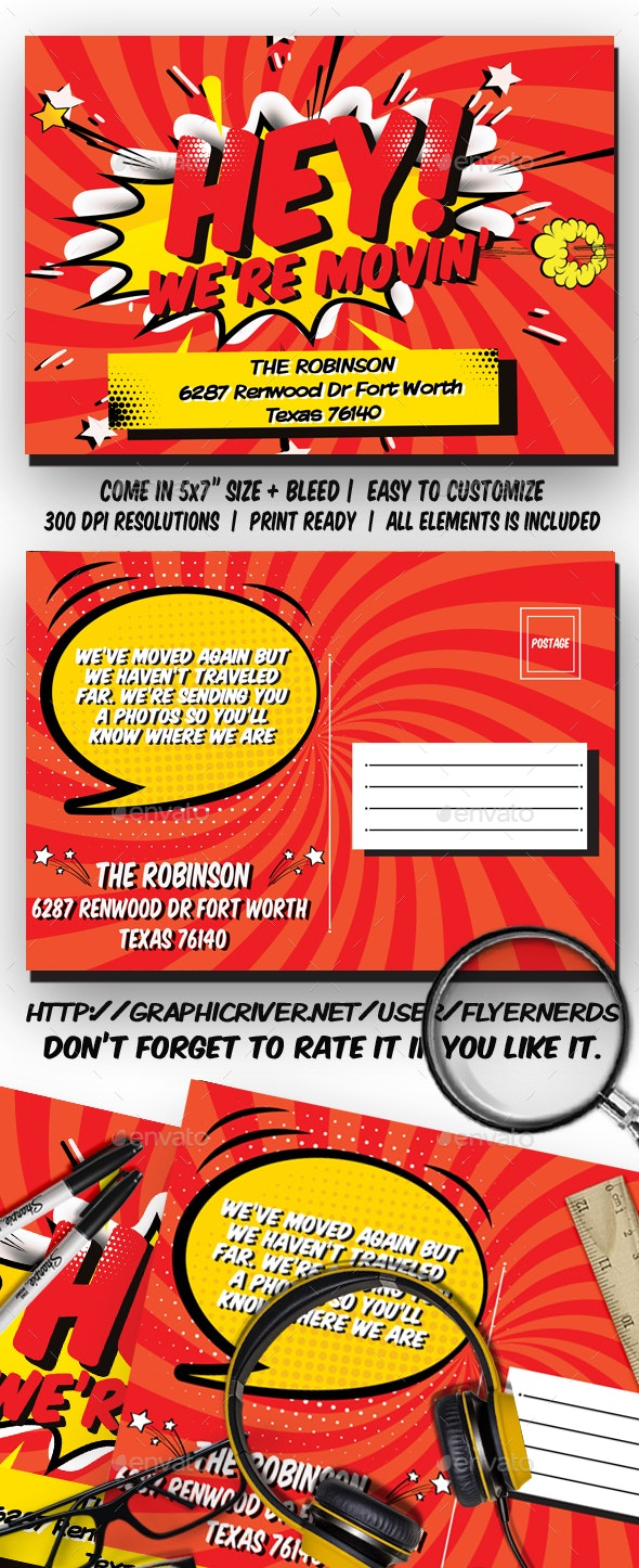 Comic Moving Announcements Card Template - Family Cards & Invites