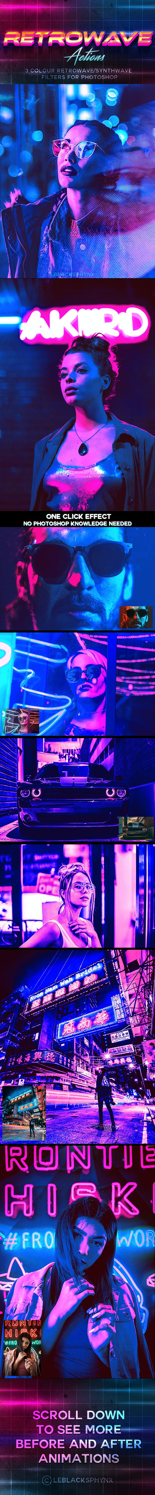 80's Retrowave Action - Photo Effects Actions