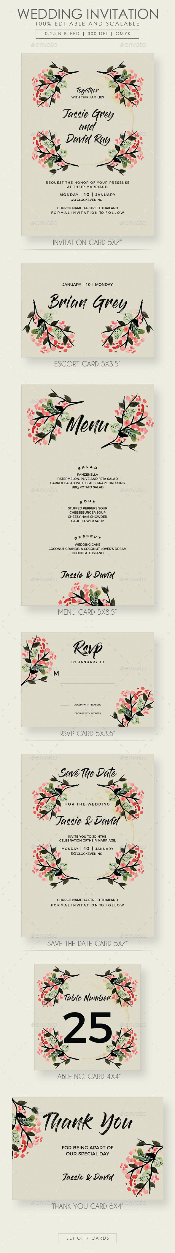 Floral Wedding Invitation Suite - Wedding Greeting Cards