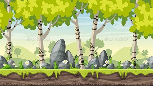Seamless Cartoon Spring Landscape - Landscapes Nature