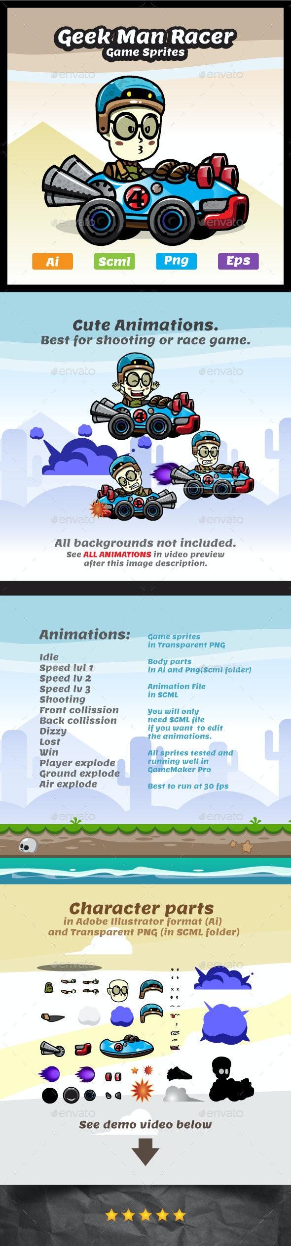 Game Character - Geek Racer Boy Sprites - Sprites Game Assets