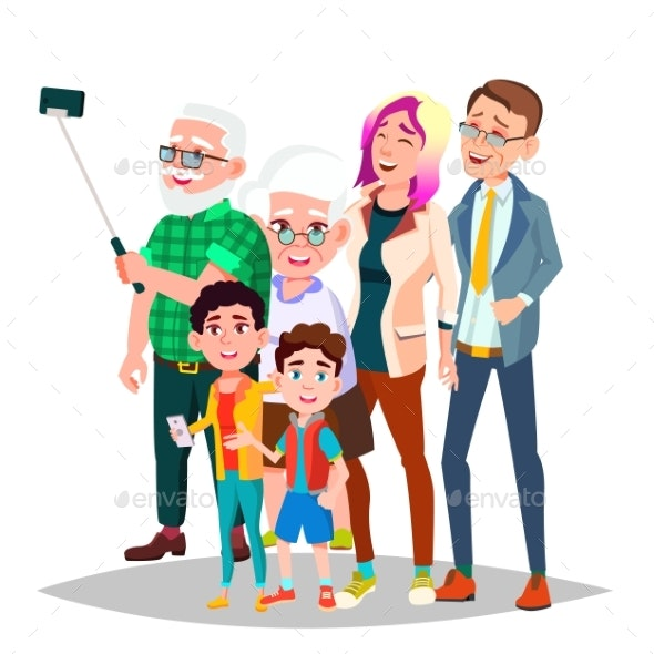 Family Portrait Vector. Big Happy Family - People Characters
