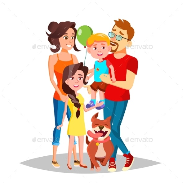 Family Portrait Vector. Dad, Mother, Kids. - People Characters