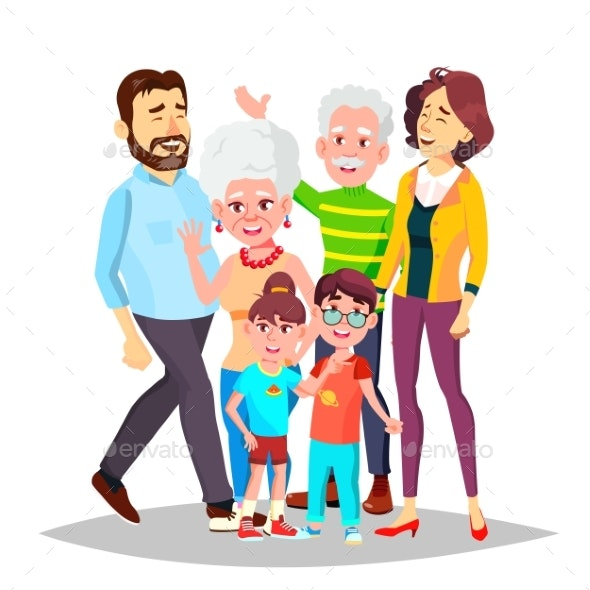 Family Vector. Full Family. Portrait. Dad, Mother - People Characters