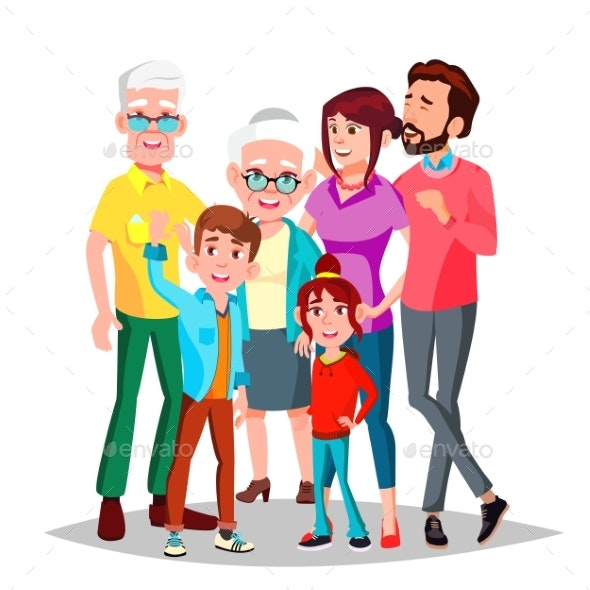 Family Vector. Cheerful. Mom, Dad, Children - People Characters