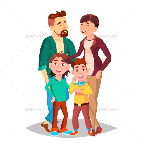 Family Vector. Mom, Dad, Children Together. - People Characters