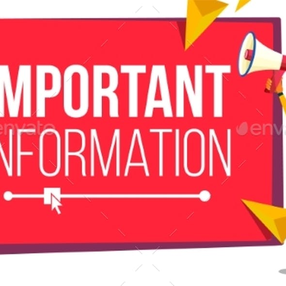 Important Information Banner Vector. Business