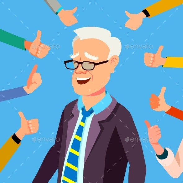 Thumbs Up Businessman Vector. Professional Office - People Characters