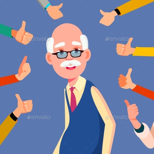 Thumbs Up Old Man Vector. Public Respect. Business - People Characters