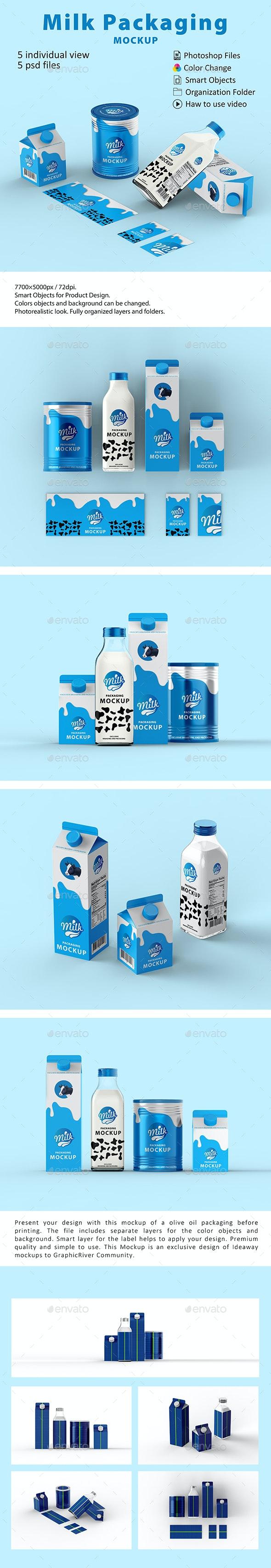 Milk Packaging Mockup - Food and Drink Packaging