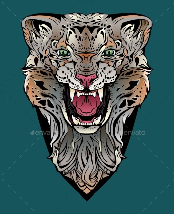 Colorful Image of an Angry Leopard - Animals Characters
