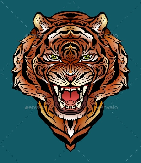 Colorful Image of an Angry Tiger - Animals Characters