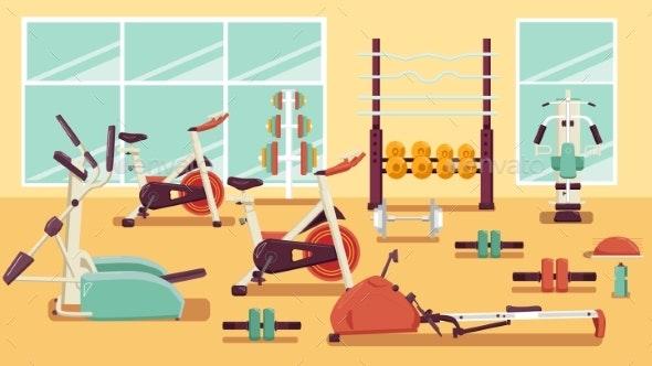 Gym Colorful Flat Illustration - Sports/Activity Conceptual