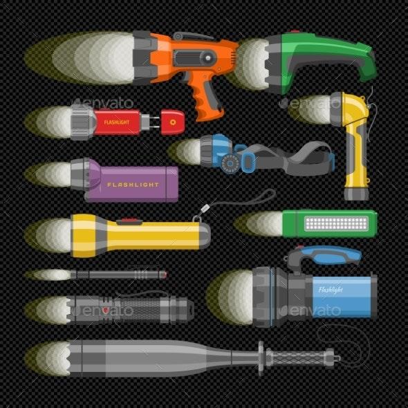 Flashlight Vectors - Man-made Objects Objects