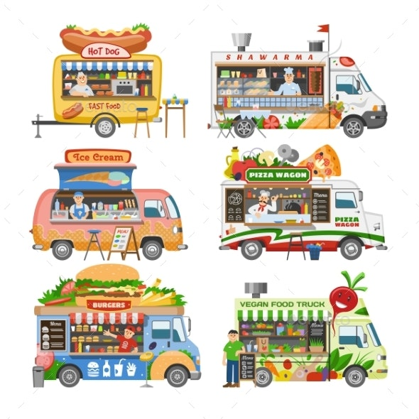 Food Truck Vectors - Man-made Objects Objects