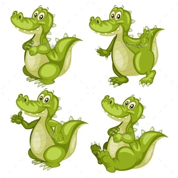 Cartoon Vector Illustration of an Alligator Set - Animals Characters