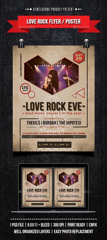 Love Rock Concert Flyer / Poster - Concerts Events