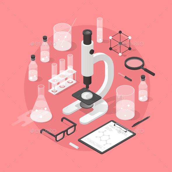 Chemistry Laboratory Objects Illustration - Health/Medicine Conceptual