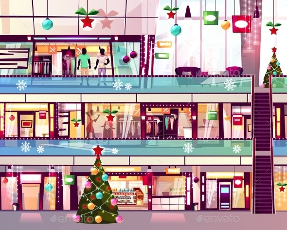 Christmas Mall Shops Escalator Vector Illustration - Retail Commercial / Shopping