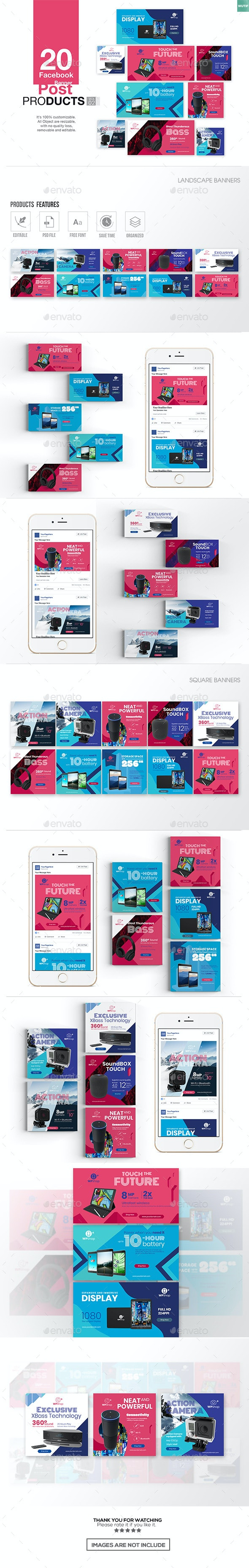 20 Facebook Post Banner - Products Vol02 - Miscellaneous Social Media