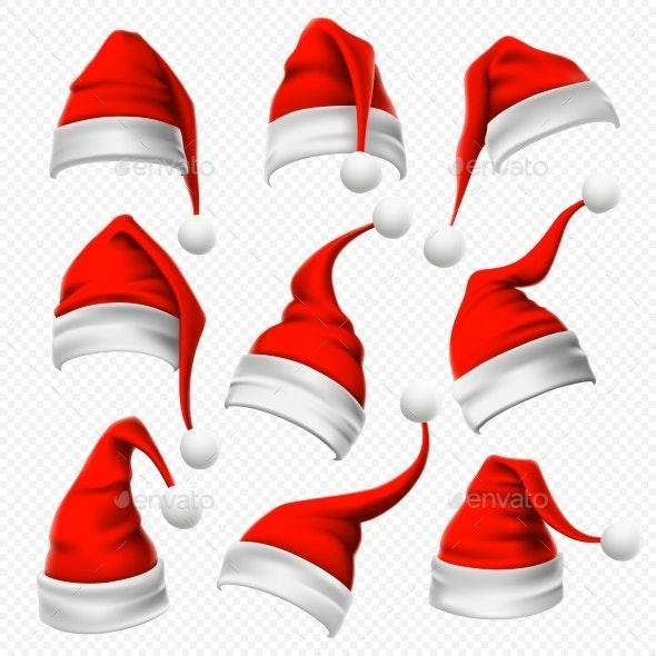 Santa Claus Hats. Christmas Red Hat, Xmas Furry - Seasons/Holidays Conceptual