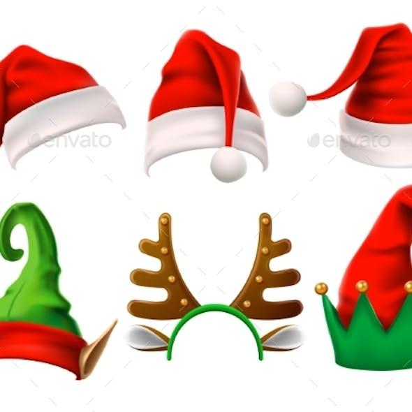 Christmas Holiday Hat. Funny 3d Elf, Snow Reindeer