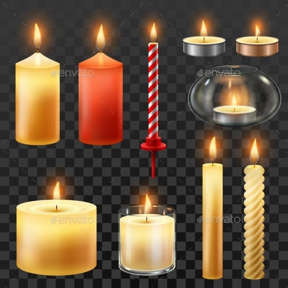 Candle Fire. Wax Candles for Xmas Party, Romantic