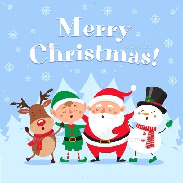 Cute Christmas Greeting Card. Singing Santa Claus - Seasons/Holidays Conceptual