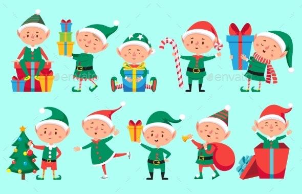 Christmas Elf Character. Cute Santa Claus Helpers - Seasons/Holidays Conceptual