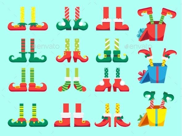 Christmas Elf Feet. Shoes for Elves Foot, Santa - Seasons/Holidays Conceptual