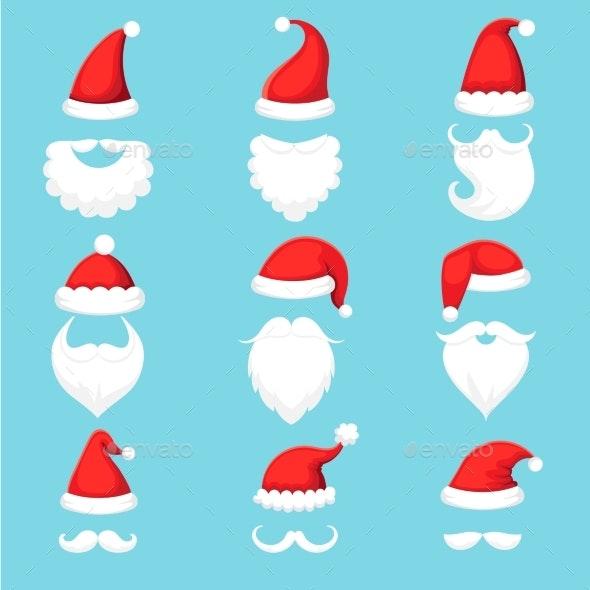 Santa Claus Hat and Beard. Christmas Traditional - Seasons/Holidays Conceptual