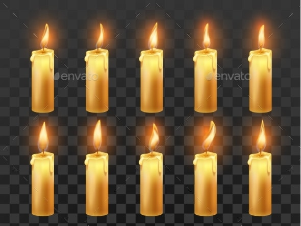 Candle Fire Animation. Burning Orange Wax Candles - Miscellaneous Vectors