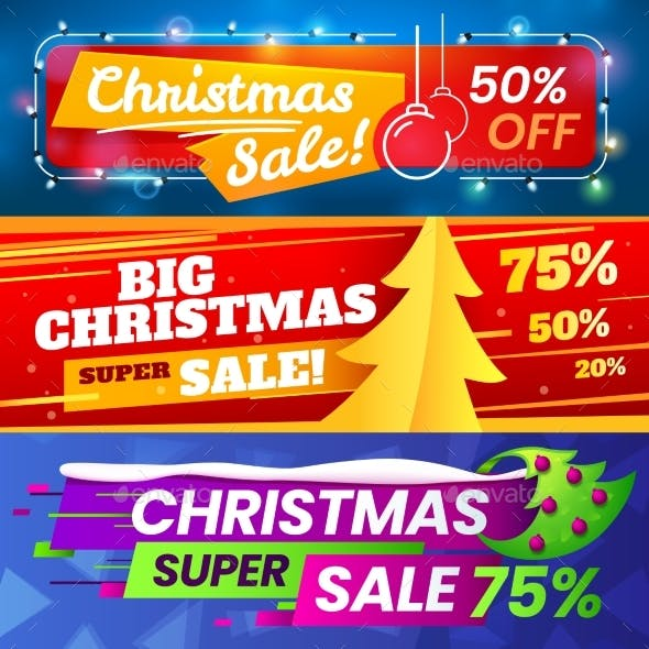 Xmas Sale Banners. Advertising Christmas Marketing