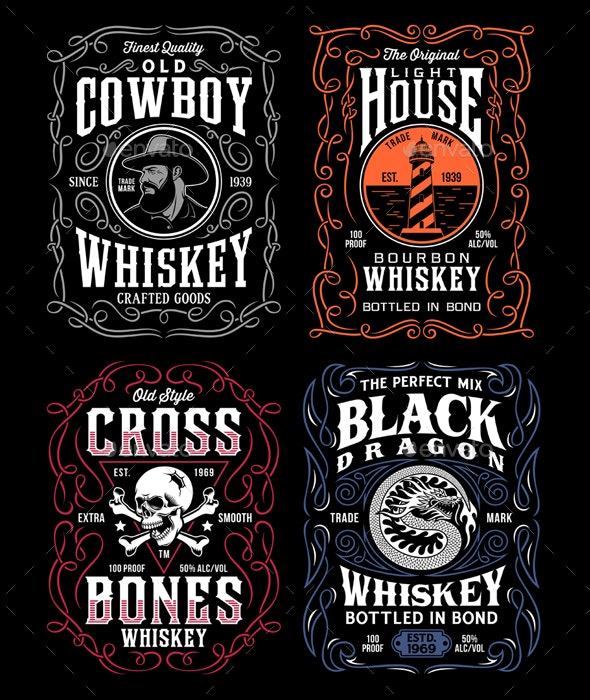 Vintage Whiskey Label T-Shirt Graphic Collection - Retro Technology