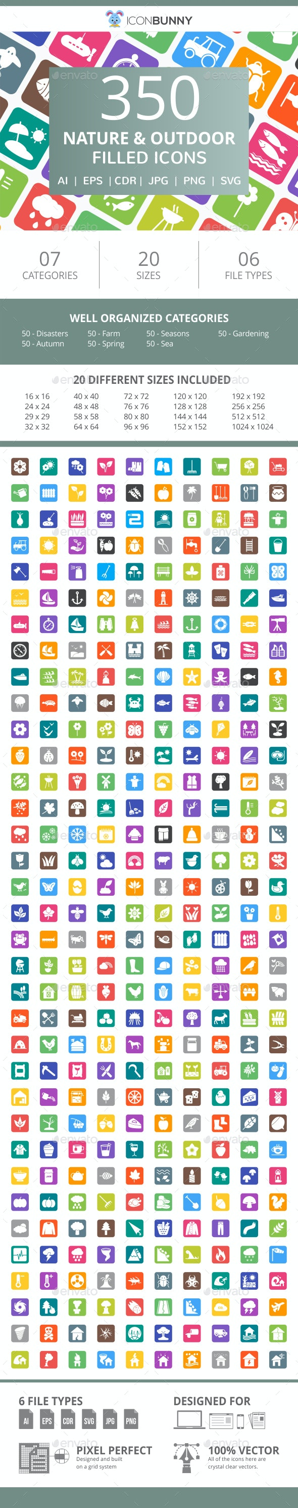 350 Nature & Outdoor Filled Round Corner Icons - Icons