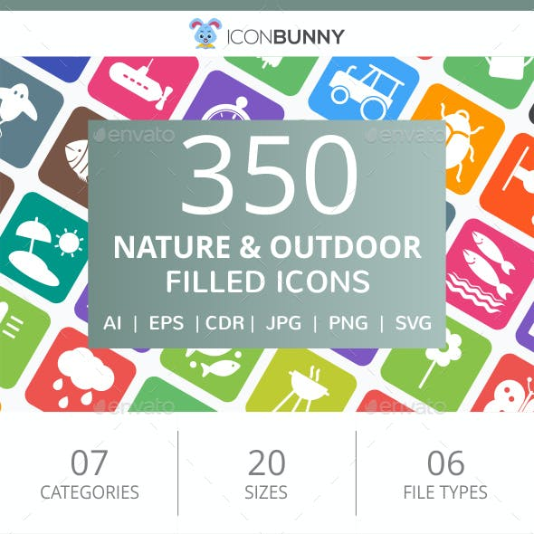 350 Nature & Outdoor Filled Round Corner Icons