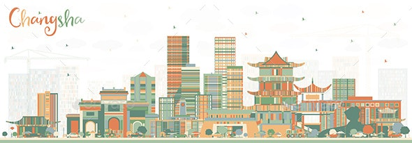 Changsha China City Skyline with Color Buildings - Buildings Objects