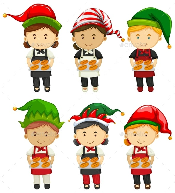Bakers Wearing Party Hat - People Characters